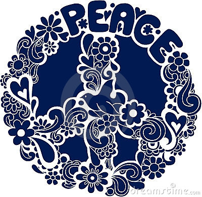 Psychedelic Peace Sign Silhouette Vector Illus