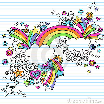Psychedelic Rainbow Notebook Doodle Vector