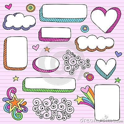 Psychedelic Shape Frames Notebook Doodle Vector