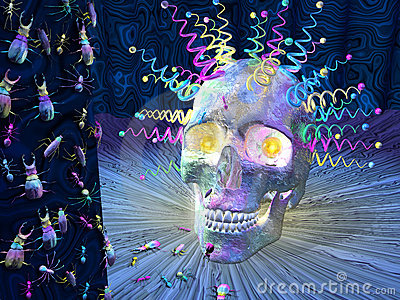 Psychedelic Skull and Insects