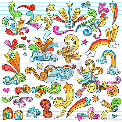 Psychedelic Stars Notebook Doodles Vector Elements