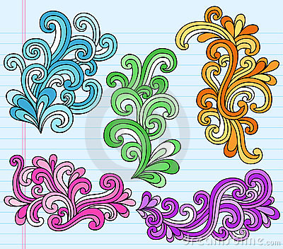 Psychedelic Swirly Notebook Doodles Vector Set