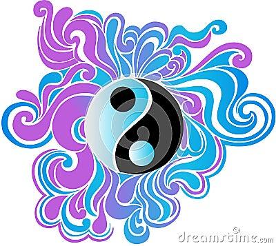 Psychedelic Yin Yang Vector Illustration