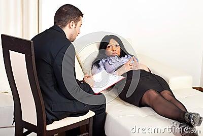 Psychiatrist advice patient woman