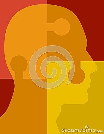 Psychologie-Puzzlespiel-Kopf