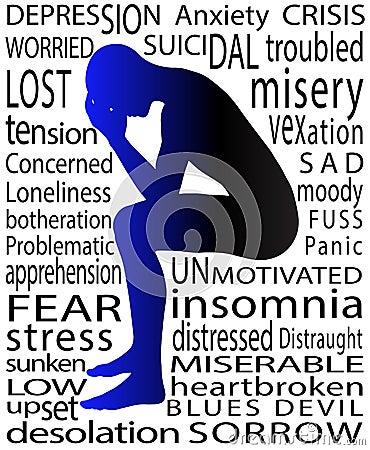Psykologiillustration av mannen i tryckt ned tillstånd
