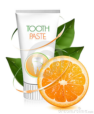Pâte dentifrice orange de saveur.
