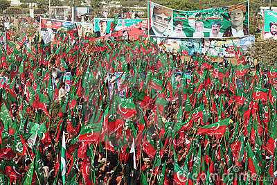 PTI Supporters Rally for Change in Pakistan Editorial Image