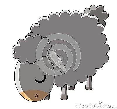 Pâturage des moutons sur le fond blanc