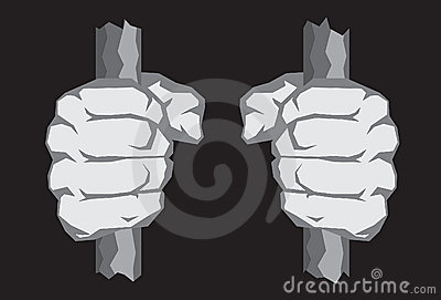 Puños afilados en barras de la cárcel