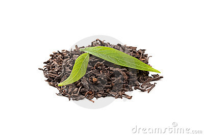 Pu-erh tea with fresh tea leaves on white