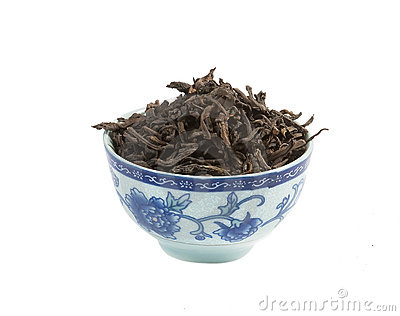 Pu-erh tea,  loose leaf, isolated