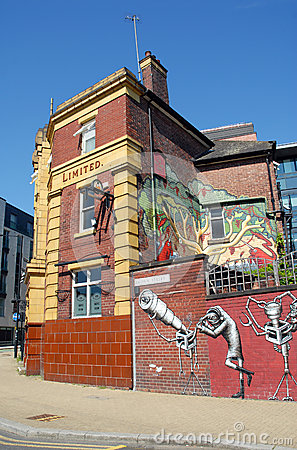 Pub Art Graffiti in Sheffield Editorial Photography