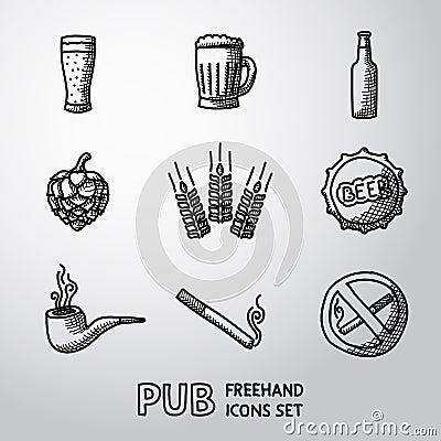 Free Pub, Beer Handdrawn Icons Set. Vector Royalty Free Stock Photos - 57498248