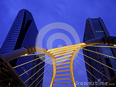 Pubic skywalk at bangkok downtown square