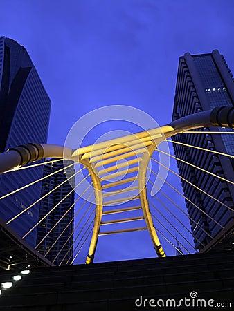 Pubic skywalk at bangkok downtown square night