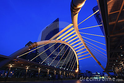 Pubic skywalk bridge