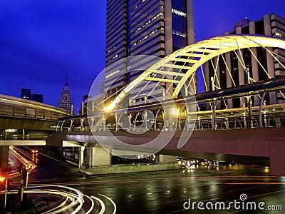 Pubic skywalk with modern buildingsm, Bangkok