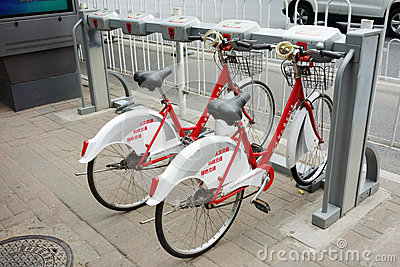 Public bicycles in Beijing Editorial Image