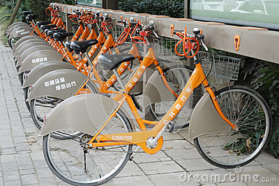public bicycles in chengdu Editorial Stock Photo