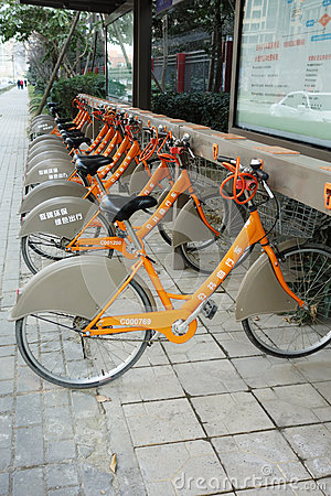 public bicycles in chengdu Editorial Stock Image