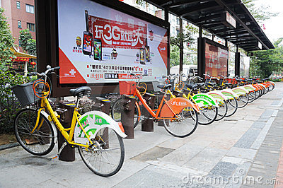 Public bicycles in Nanhai Editorial Stock Image