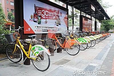 Public bicycles in Nanhai Editorial Stock Image