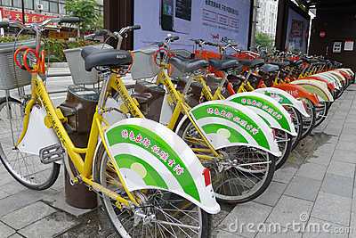 Public bicycles in Nanhai Editorial Stock Photo