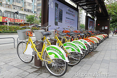 Public bicycles in Nanhai Editorial Photo