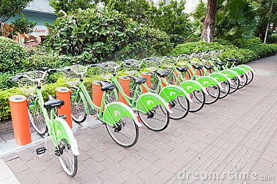 Public bike system in China Editorial Image