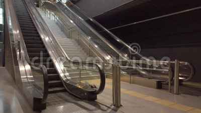 Public Escalators Moving with No One stock video footage