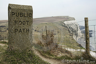 Public foot path dover white cliffs england