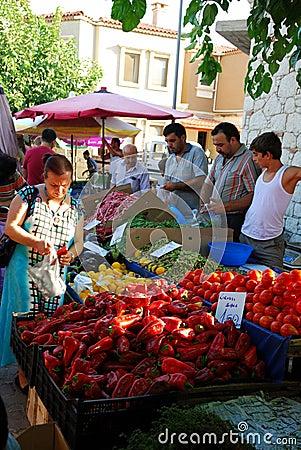 At The Public Market of Alacati (Izmir, Turkey) Editorial Stock Photo