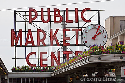 Public Market Center Neon Seattle Editorial Photography