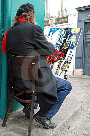 Public painter on Montmartre hill in Paris Editorial Stock Image