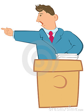 Public speaker on a rostrum