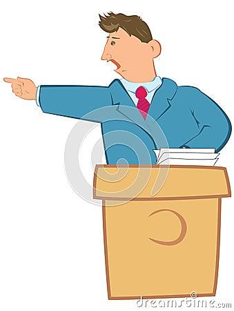 Public speaker on a rostrum