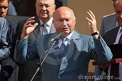Public speech of mayor Luzhkov Editorial Photography