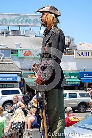 Public street live statue artist Editorial Stock Image