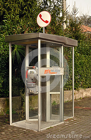 Public telephone box Telecom in Italy Editorial Stock Photo