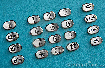 Public telephone keypad dial buttons
