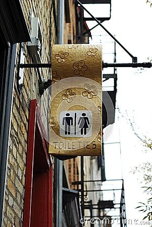 A public toilet sign