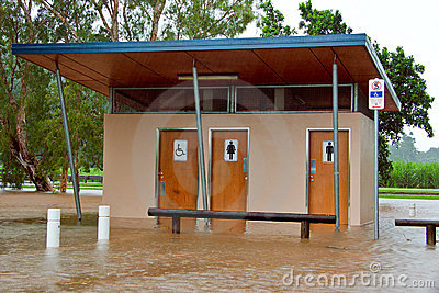 Public toilets flooded in Queensland, Australia