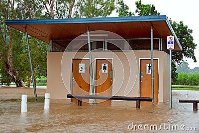 Public toilets flooded in Queensland, Australia