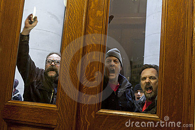Public Union Thugs At the Door Editorial Image