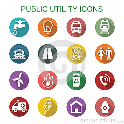 Free Public Utility Long Shadow Icons Royalty Free Stock Photography - 55703047