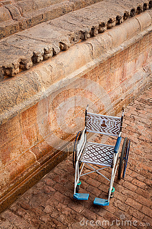 Public wheelchair. Brihadishwarar Temple entrance