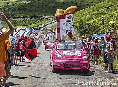 Publicity Caravan in Pyrenees Editorial Photo