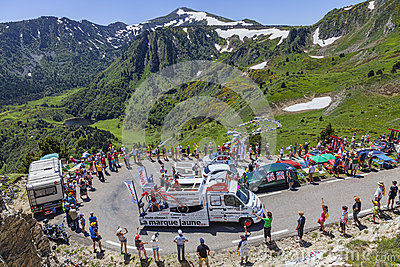 Publicity Caravan in Pyrenees Mountains Editorial Photography