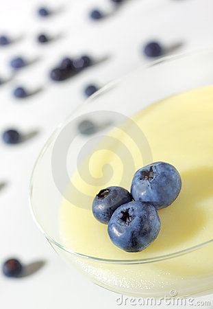 Pudding in glass with blueberry